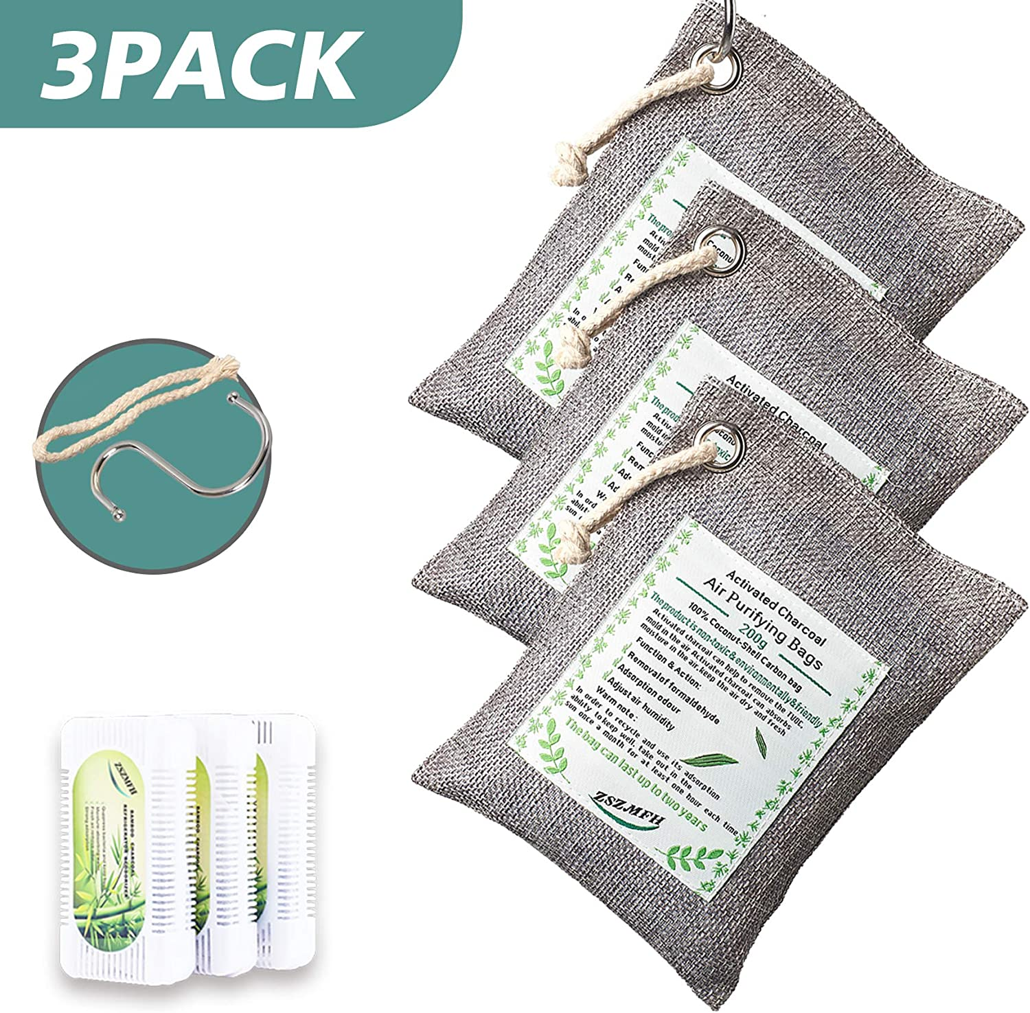 ZSZMFH 3 Pack Activated Bamboo Charcoal Air Purifying Bags, Odor Absorber Bags, Odor Eliminator for Home, Closet, Car (220g/pack) -Includes 3 Pack Refrigerator Deodorizers (50g/Pack)…