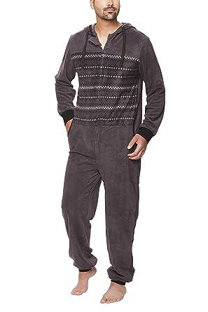 35e51c4c6f SLOUCHER - Herren Fleece Jumpsuit Jogger Onesie Overall Einteiler mit  Reißverschluss und Kapuze: Amazon.de: Bekleidung