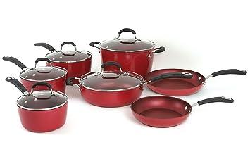 Oneida rojo 12pc pfoe/PTFE libre de aluminio forjado sartenes antiadherentes. Apta para lavavajillas.: Amazon.es: Hogar