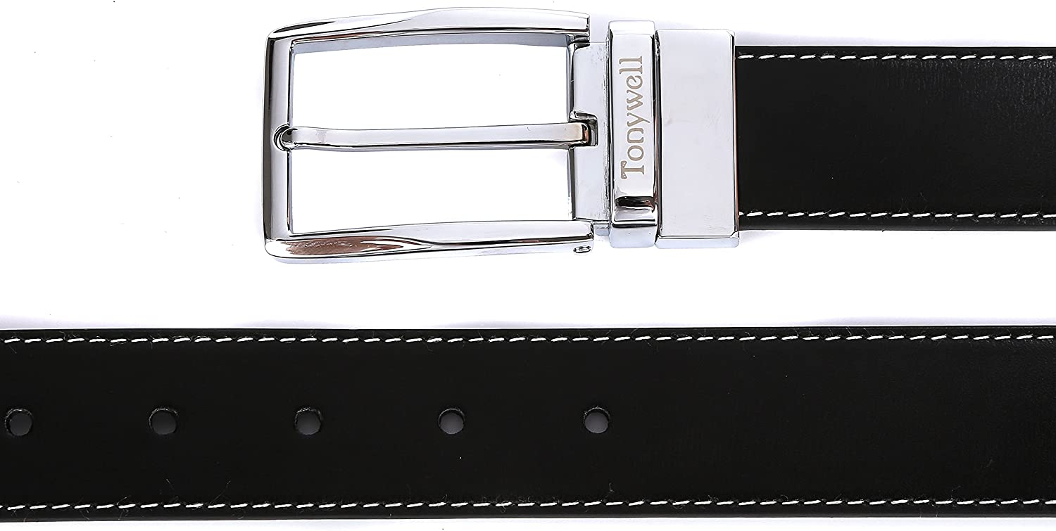 Tonywell Mens Dress Belt Leather Reversible 1 3//8 wide Removable Rotated Buckle Gift Box