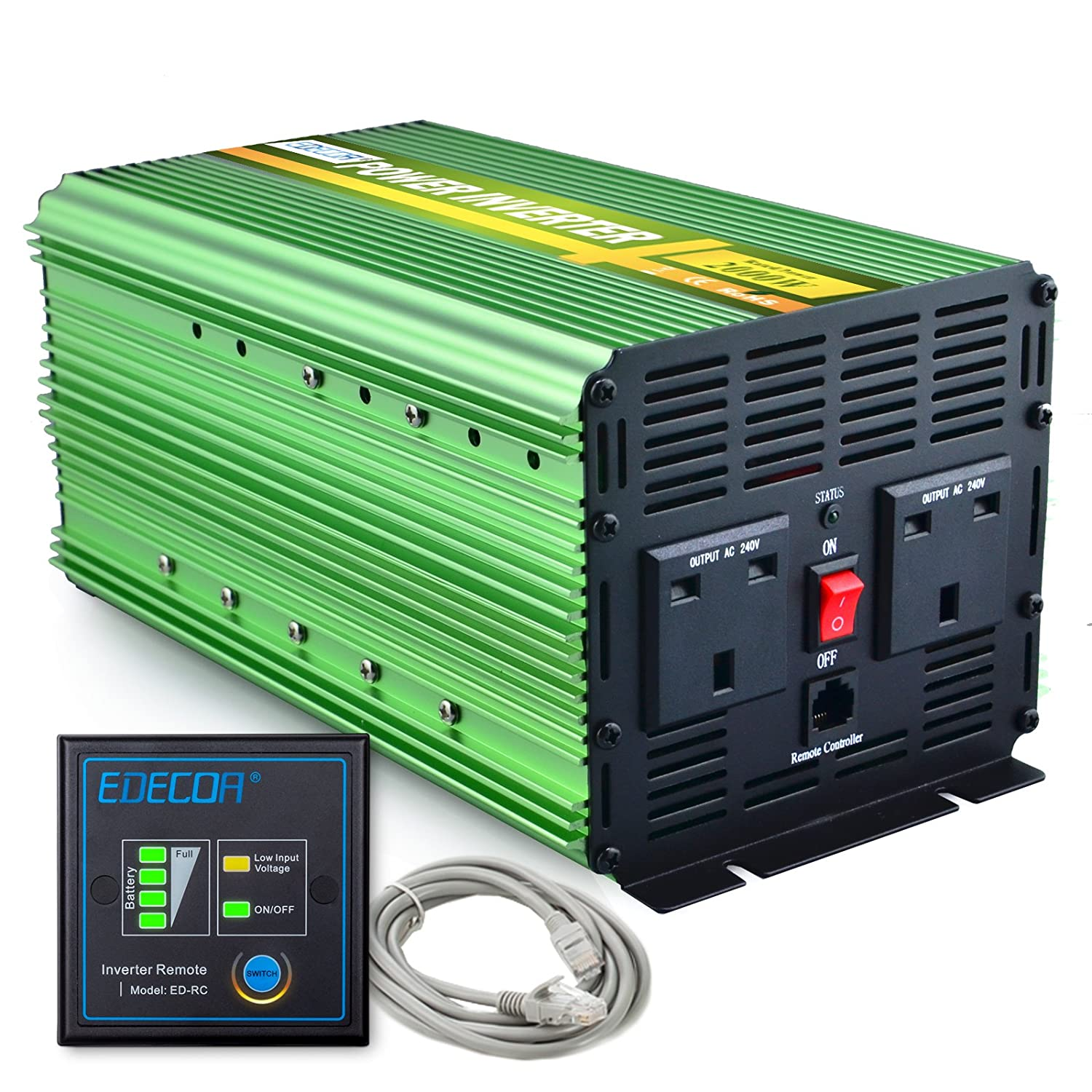 EDECOA 2000W Power Inverter DC 12V to 240V AC with Remote Control - Green