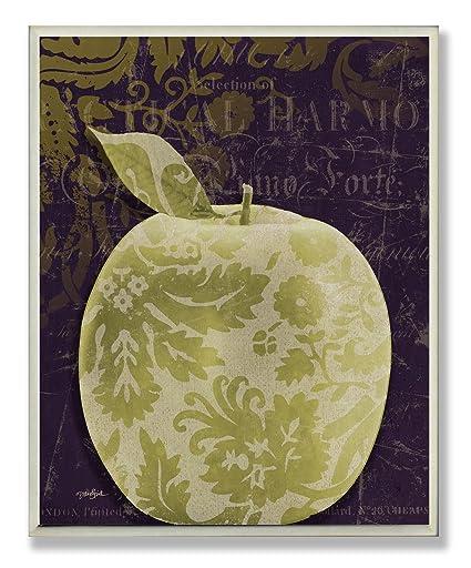 Amazon.com: Stupell Home Décor Damask Green Apple Kitchen ...