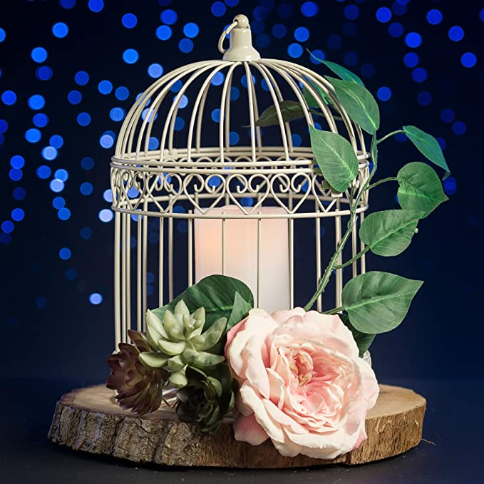 Amazon Indoor Outdoor Decorative Bird Cage Latern Centerpiece Ivory Party Table Centerpieces Kitchen Dining