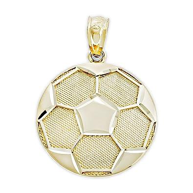 Charm America Oro Colgante de balón de fútbol, 14 K Oro Macizo ...
