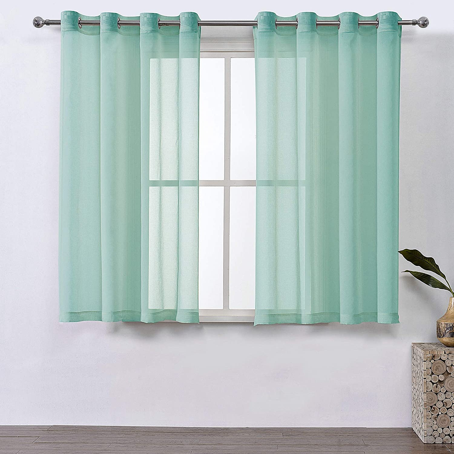 DWCN Sheer Curtains Faux Linen Sheer Voile Window Curtain for Living Room Grommet Mint Green Drapes 52 x 63 Inch Long, 1 Pair, Set of 2 Panels