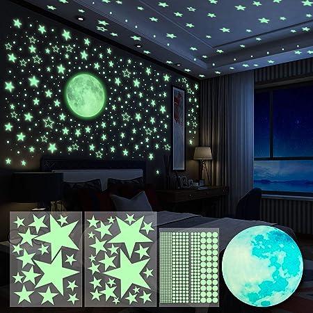 Crea un cielo estrellado real, 4 piezas pegatinas de pared que brillan en la oscuridad están incluid