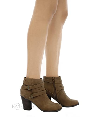 Women's Crisscross Buckle Bootie Side Zip High Stacked Block Heel Ankle Booties