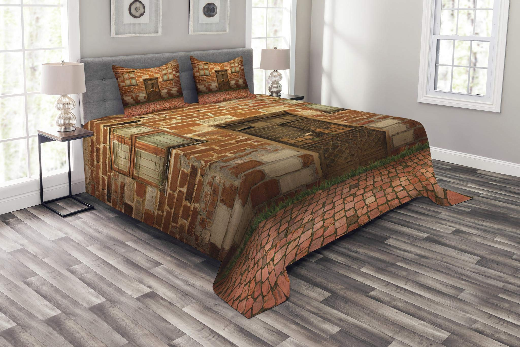 Lunarable Rustic Bedspread Set King Size, Antique Exterior with Old Door and Windows Frontage Aged Building Print, Decorative Quilted 3 Piece Coverlet Set with 2 Pillow Shams, Cinnamon Coral Brown