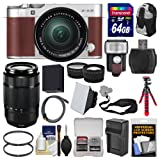 Fujifilm X-A3 Wi-Fi Digital Camera & 16-50mm II XC Lens (Brown) with 50-230mm II Len + 64GB Card + Backpack + Flash + Battery & Charger + 2 Lens Kit