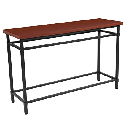 Flash Furniture Granada Hills Collection Norway Cherry Inlaid Wood Grain Finish Console Table with Black Metal Legs