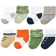 Luvable Friends Unisex 8 Pack Newborn Socks, Camo, 0-6 Months