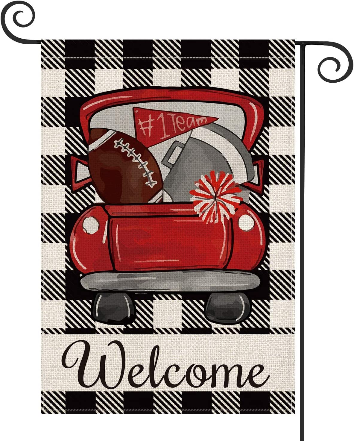 AVOIN Buffalo Plaid Football Truck Welcome Garden Flag Vertical Double Sided, Sport Flag Yard Outdoor Decoration 12.5 x 18 Inch