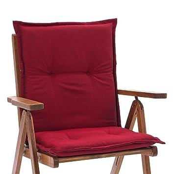 2 Auflagen für Hochlehner 121 cm lang 4 cm dick in rot Sitzkissen Stuhl Kissen