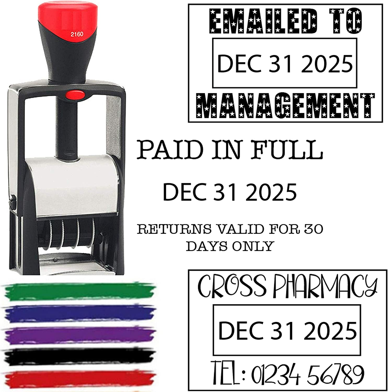 6 Year Band 2020 Date Stamp Self Inking Personalize with 2-3 Lines Custom Text - Self Inking Business Stamp Black Red Blue Green Purple Ink