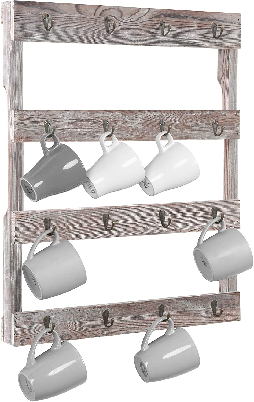 MyGift Wall Mounted Rustic Gray Wood 16 Hook Mug Rack