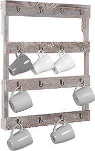 MyGift Wall-Mounted Rustic Gray Wood 16-Hook Mug Rack