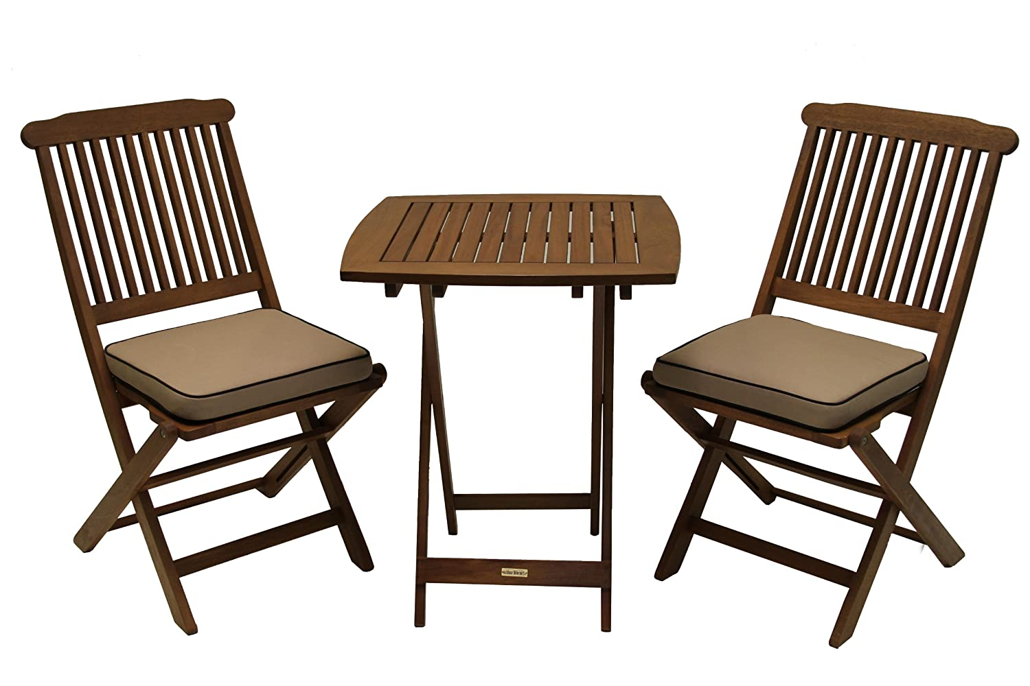 Amazon.com: Outdoor Interiors Eucalyptus 3 Piece Square Bistro Outdoor  Furniture Set   Includes Cushions: Garden U0026 Outdoor