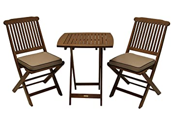 outdoor interiors eucalyptus 3 piece square bistro outdoor furniture set includes cushions