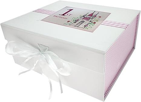 white cotton cards CAS2 - Caja para guardar recuerdos de bebé (tamaño pequeño), diseño de primer cumpleaños y castillo: Amazon.es: Bebé