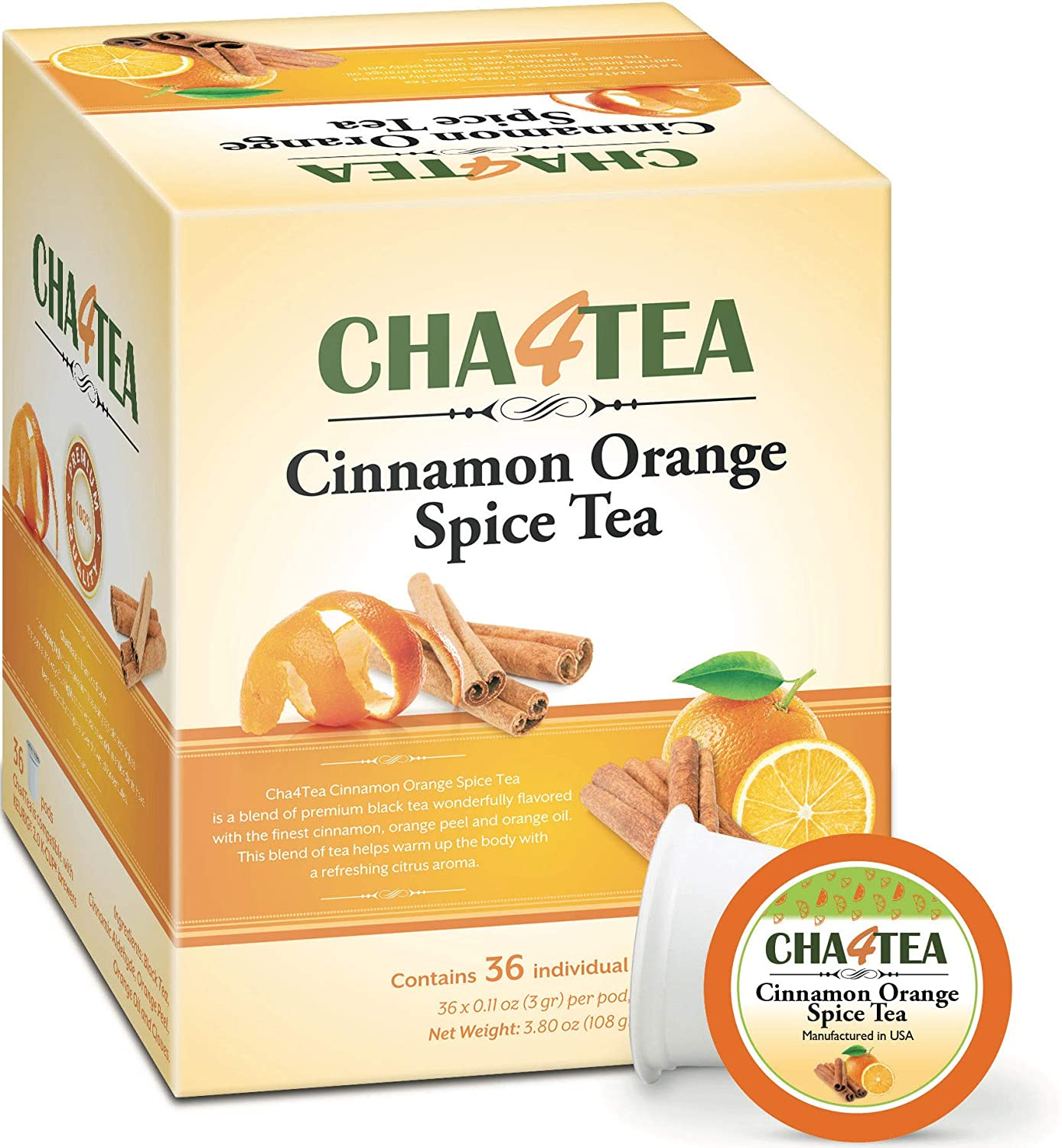 Cha4Tea 36-Count Cinnamon Orange Spice Herbal Black Tea