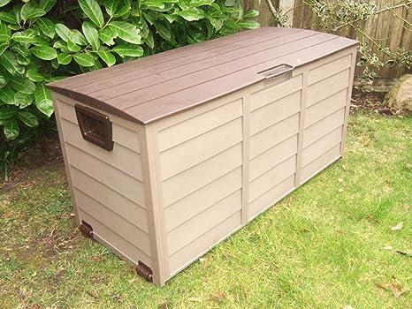 Caja de almacenamiento de jardín, cofre de utilidad con cobertizo de plá