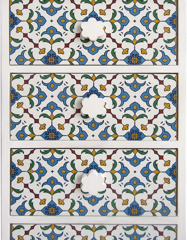Misure: 76 x 40 x 30 cm Stile Moderno Rebecca Mobili Cassettiera - Art Mobile Bagno 4 Cassetti Legno Chiaro Bianco Blu RE6499 per Ingresso Bagno HxLxP