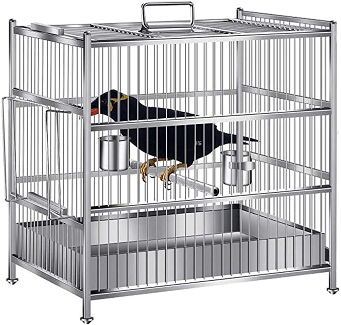 Jaula dpájaros duradera y ecológica, Loro jaula a pájaro jaula de acero inoxidable ave de báz de báz de ave rectangular jaula portátil para uso en exteriores diseño colgante diseño balcón aves casa su