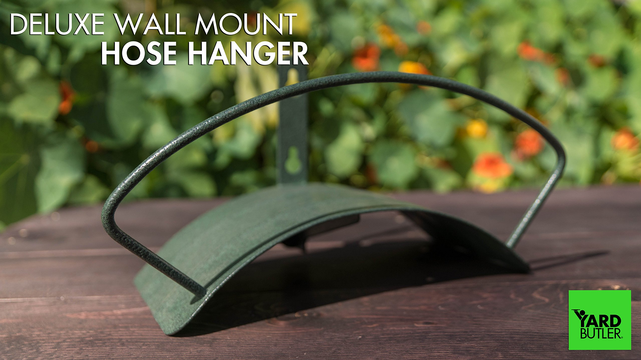 Yard Butler Deluxe Heavy Duty Wall Mount Hose Hanger Easily Holds 100' Of 5/8' Hose Solid Steel Extra Bracing And Patented Design In and DECORATIVE DESIGNS IHCWM-1 Textured Forest Green by Yard Butler (Image #6)