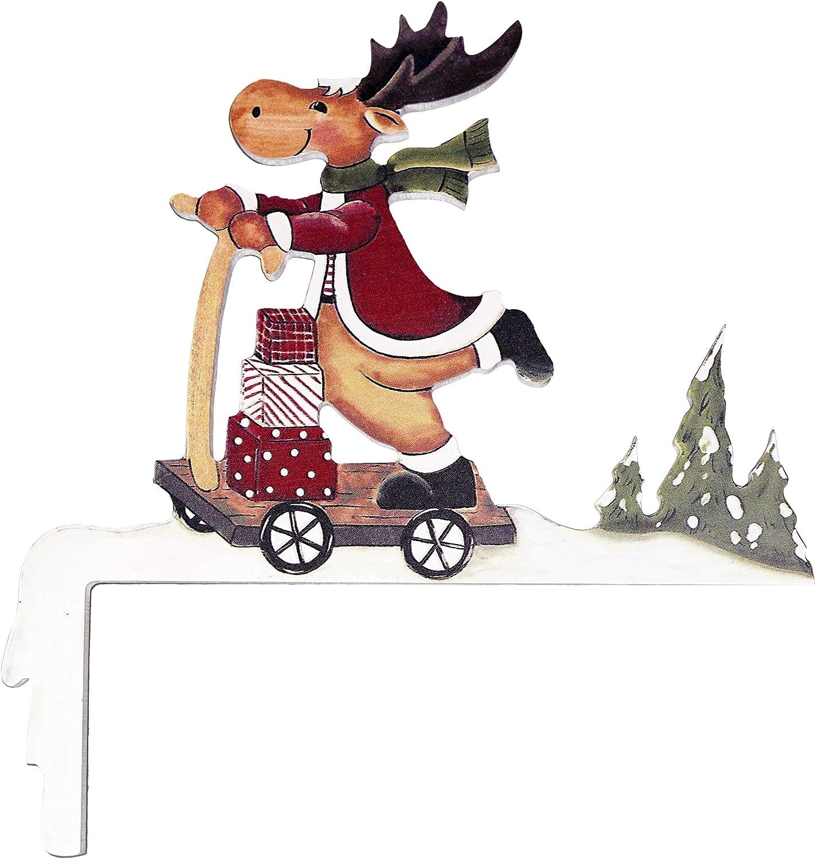 khevga Decorative Wood Reindeer with Scooter Christmas Decoration for Door Frame - Christmas Door Decorations-Decor