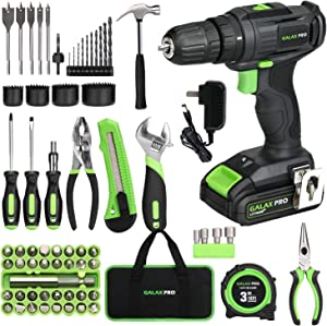GALAX PRO 2-Speed Compact Drill 20V MAX Lithium-Ion Driver with 68 Pieces Accessories, 1.3 Ah Battery and charger for Home Improvement and DIY Project