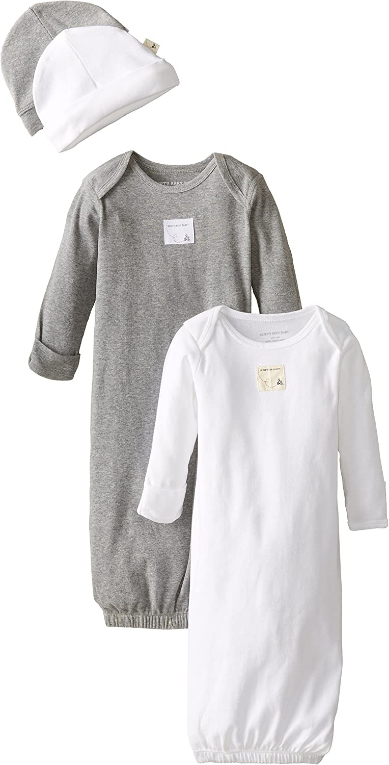 Burts Bees Baby 0-6 Months Unisex Sleeper Gown /& Hat Set 100/% Organic Cotton One Size