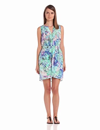 Charlie Jade Women's Sleeveless V-Neck Dress, Aqua, X-Small
