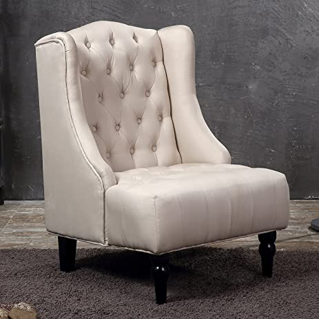 Etonnant Belleze Tall Wingback Tufted Fabric Accent Chair Tufted High Back With Nail  Head, Beige