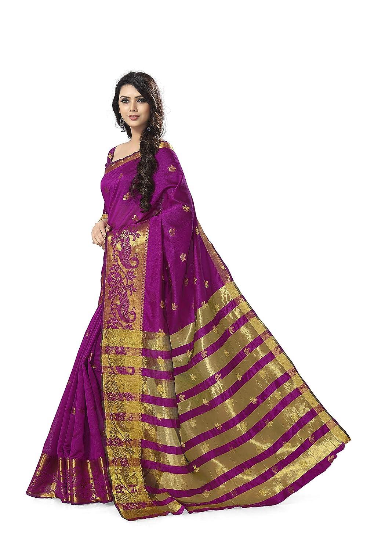 Rani Color Kanchipuram Cotton Silk Saree With Blouse Piece