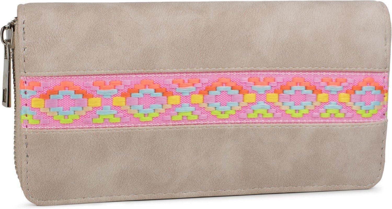 styleBREAKER Monedero Suave con Motivo Bordado étnico de Rombos, Cremallera Alrededor, Cartera, de señora 02040070, Color:Beige