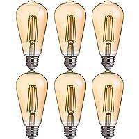 FLSNT ST64/ST21 LED Edison Bulb 40W Equivalent,E27 Base,2700K Soft White Lighting,330LM,Non-dimmable,4.5W,Amber Glass,6…