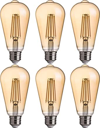 FLSNT ST64/ST21 LED Edison Bulb 40W Equivalent,E27 Base,2700K Soft White Lighting,330LM,Non-dimmable,4.5W,Amber Glass,6 Pack