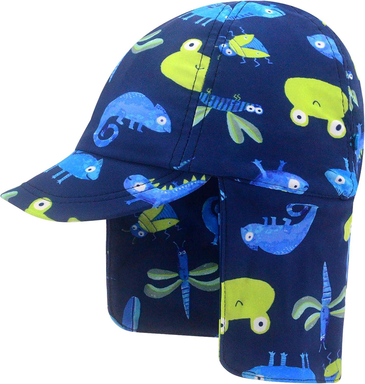 UPF50+ Sombrero de Sol con Cubrenuca para Bebé Niños Niñas Anti-UV Gorro Verano Gorrito para Playa, Natación, Pesca, Viaje, Excursión, Escuela Ajustable con Barbijo