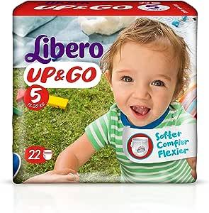 Libero Up&Go - Pañal con braguita 13-20 kg, talla 5 - Pack de 4 x 22 pañales: Amazon.es: Salud y cuidado personal