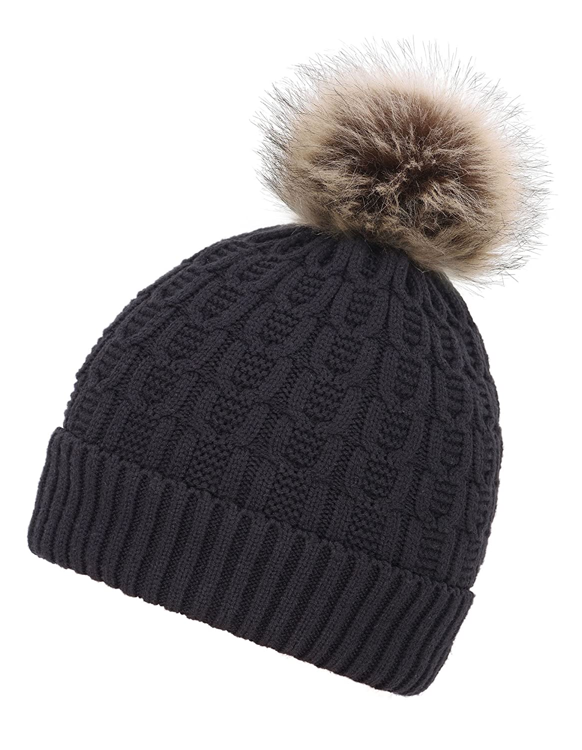32440a8454a2a Womens Sherpa Lined Knit Beanie Hat Winter Knit Hat Cap