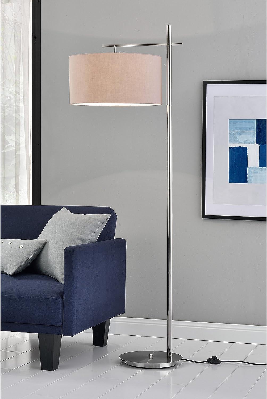 Lámpara de pie Elegante London E27 / 60 W / 230 V Gris-Cromo 155cm - 46 cm