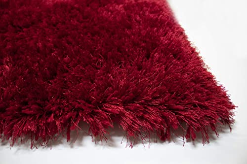 Dark Red Light Red Color 8×10 Feet Two Tone Shag Shaggy Fluffy Fuzzy Furry Solid Area Rug Carpet Rug Indoor Bedroom Living Room Decorative Designer Modern Contemporary Plush Polyester Made