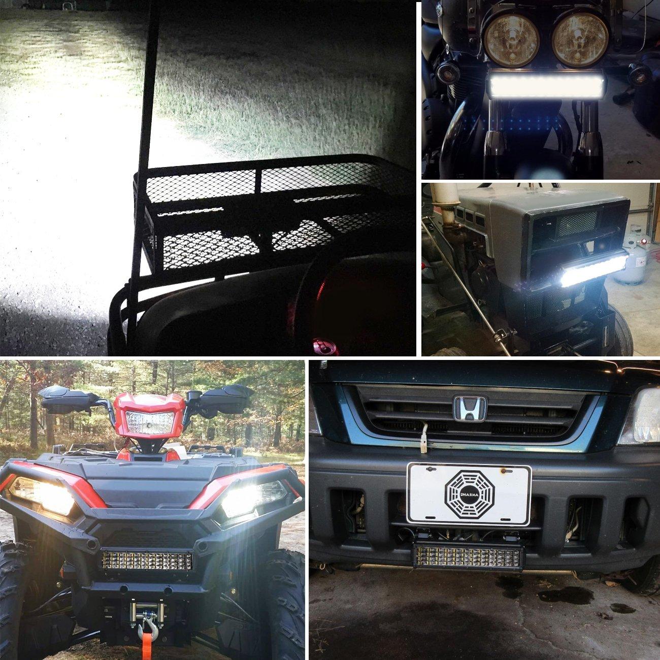 2pcs 6 120W Quad Row Light Bar Off Road Driving Fog Lights Cree Led Cubes Boat Lights Flood Work Lights for Truck ATV UTV SUV Jeep Marine Auto Power Plus LED Pods 2 Years Warranty