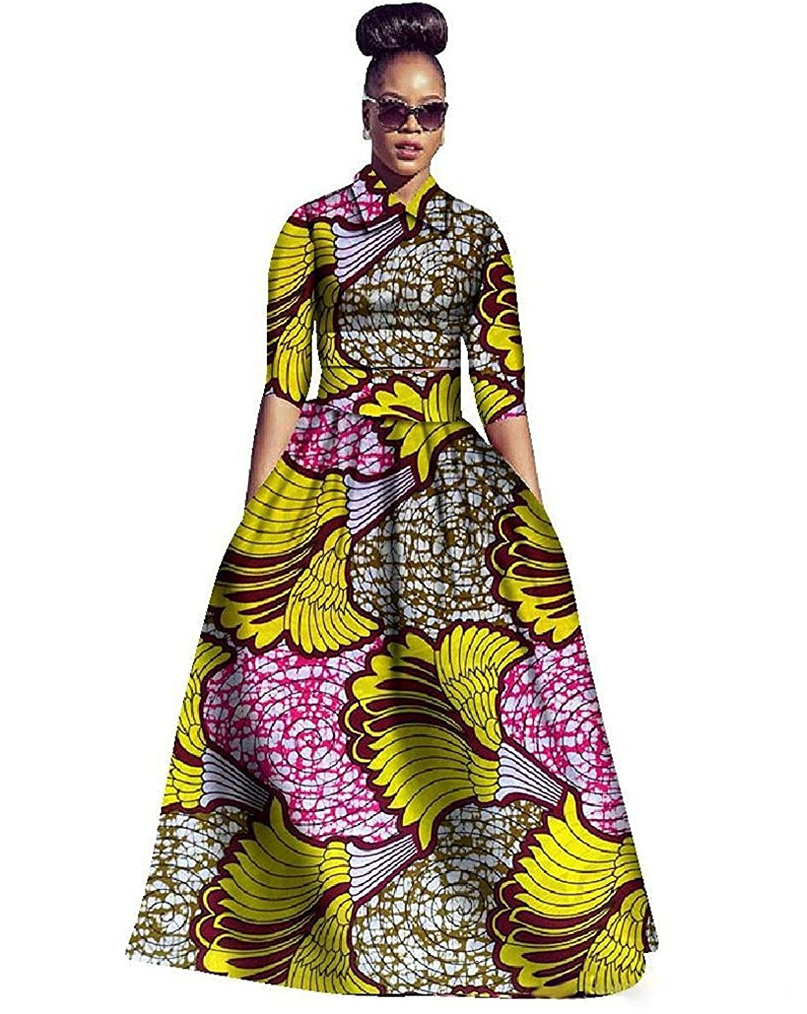 ec095f433e402 Amazon.com: Ivay Womens African Maxi Dresses Dashiki Print Skirt Fit and Flare  Dress 2 Piece with Pockets: Clothing