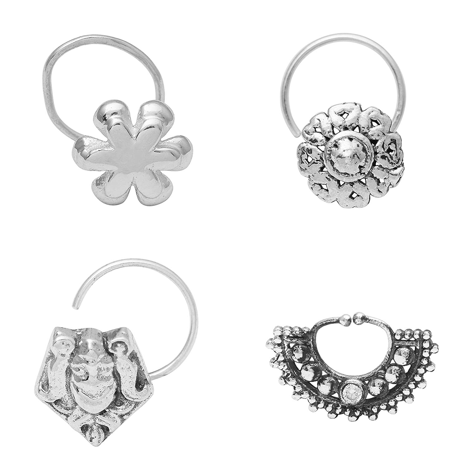 Buy Shine Jewel 925 Oxidized Sterling Silver Cubic Zirconia Nose
