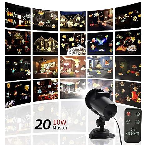 Proyector LED, 20 diseños intercambiables, resistente al agua IP65 ...
