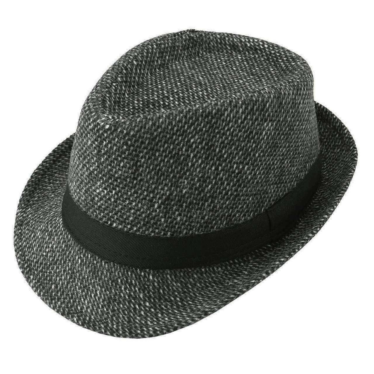 Unisex Classic Manhattan Fedora Hat Black Band Fashion Casual Jazz Wool Cap (Dark Grey)
