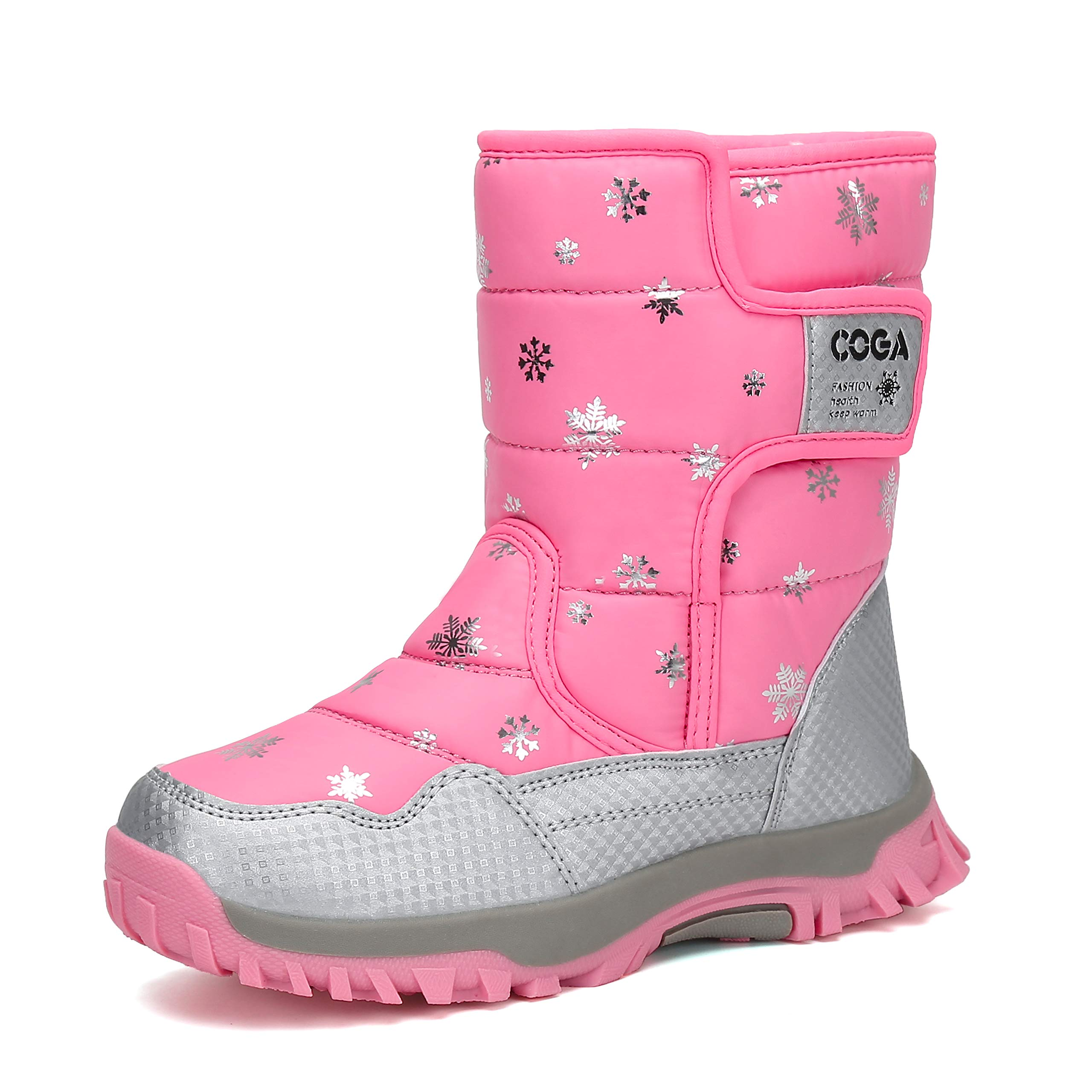 Mishansha Girls Boys Toddler Little Big Kids Winter Fur Snow Boots Warm Water Resistant Antislip Outdoor Shoes Pink by Mishansha (Image #1)