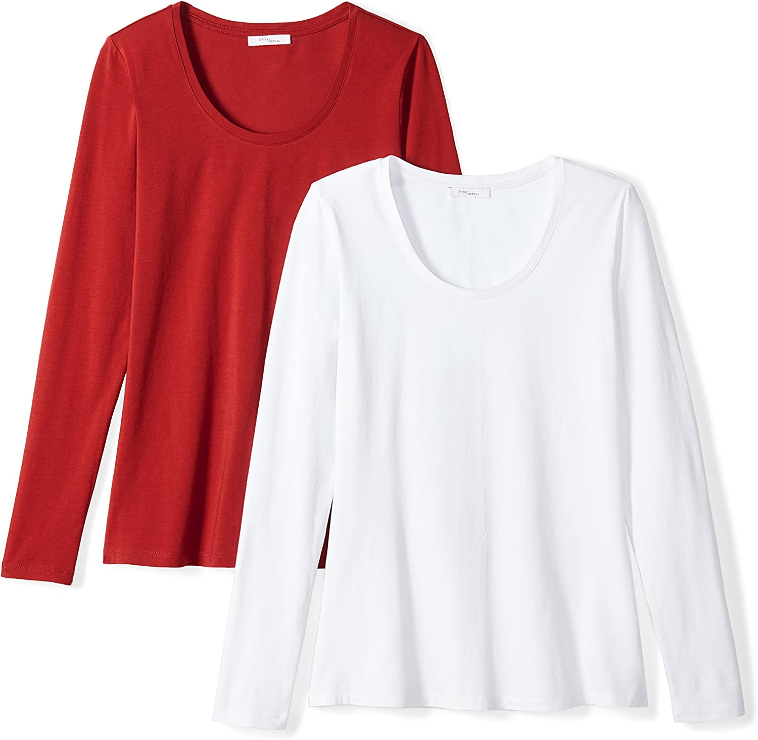 Brand Daily Ritual Womens Stretch Supima Long-Sleeve Scoop Neck T-Shirt