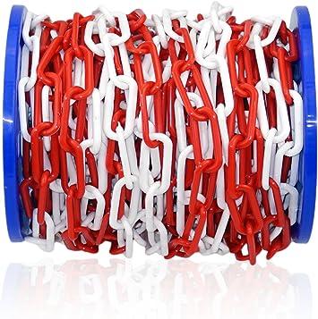 Kunststoff-Absperrkette 8 mm rot//weiss 12,5 m Parkplatzsperre Plastikkette Kette
